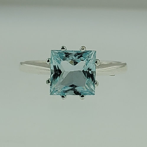 Aquamarine 7mm x 7mm Princess Cut Ring set in Sterling Silver
