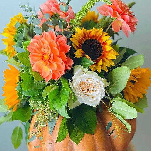 Flower Trimmed Pumpkin Arrangement