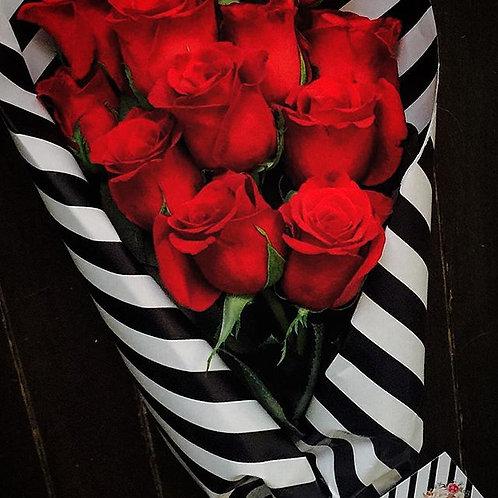 Paper Wrapped Dozen Long Stem Rose Bouquet