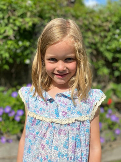 Summer wendy nightie in blue and purple swiss dot