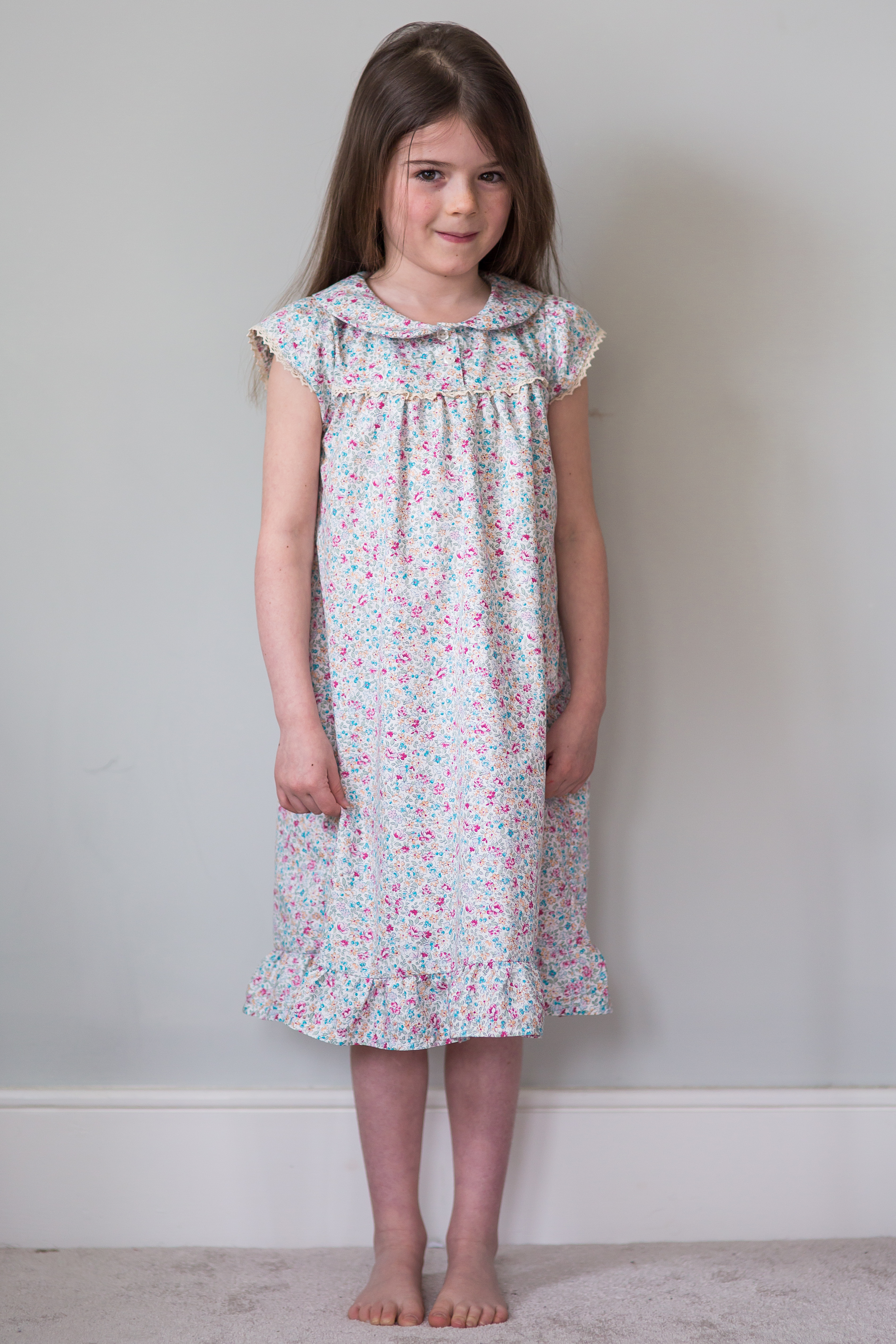 Ruffle nightie in ditzy floral