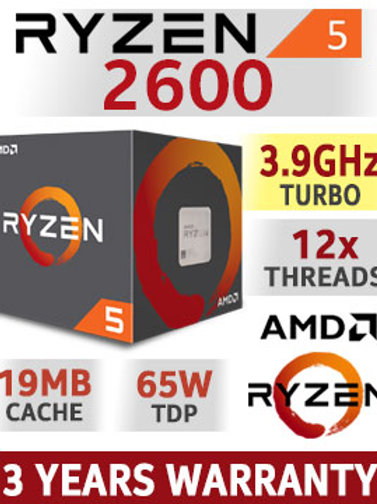 AMD Ryzen 5 2600, 3.90 GHz (Turbo)