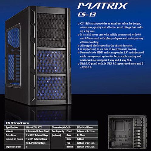 Gabinete Black Matrix CS-13. 4 Ventiladores