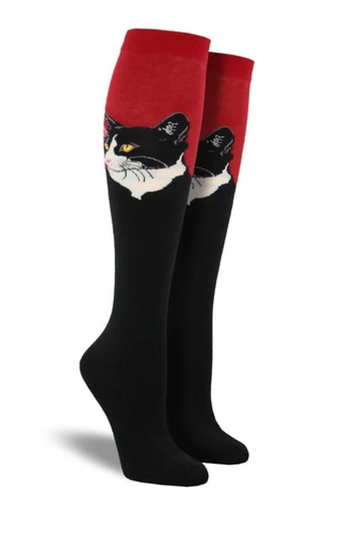 "Knee High "" Cat portrait red"""