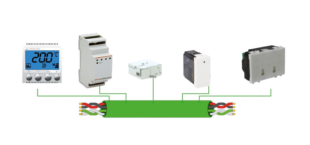 Connessione dei dispositivi domotici al cavo bus domotico konnex knx