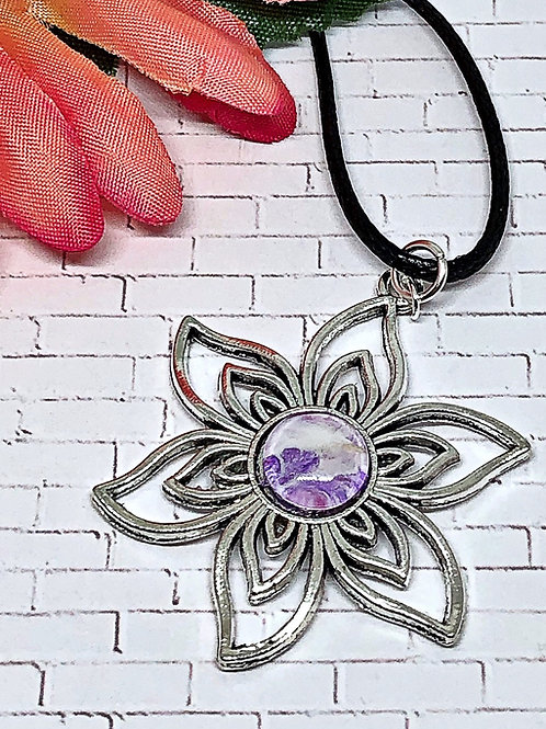 Purple and white flower pendant.  Flower pendant.