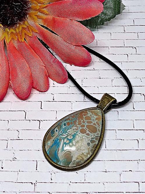 Beach color teardrop pendant.