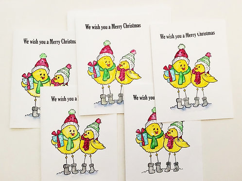 Chick-a-dee Christmas greeting card set