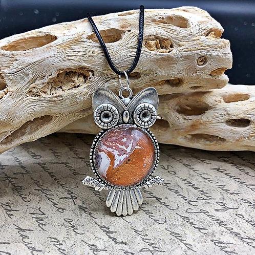 Bronze, white and silver owl pendant