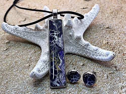 Purple Pendant and earring set, pendant and earring set.