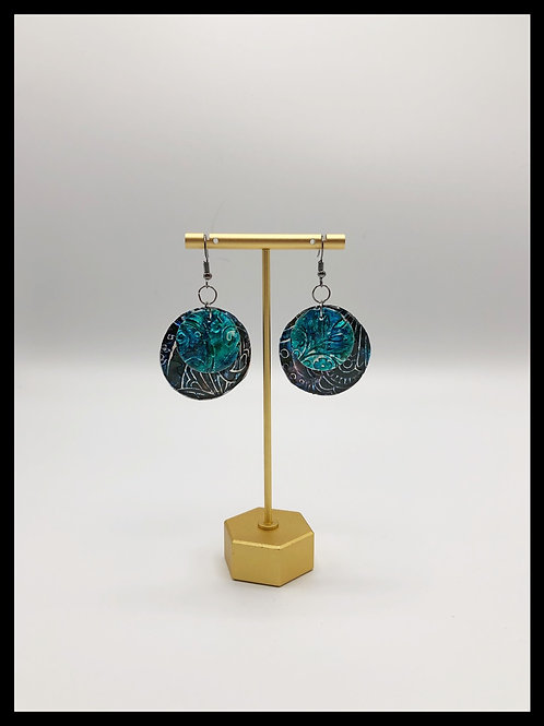 Blue up-cycled aluminum earrings.
