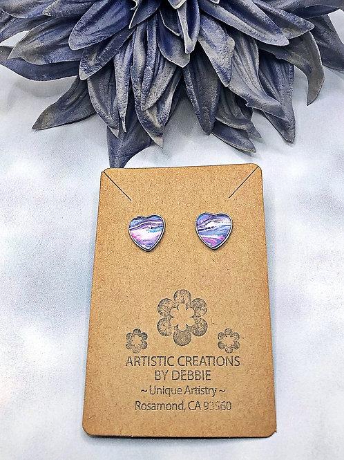 Blue , purple and pink heart earrings.