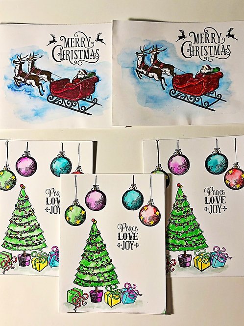 Mixed Christmas greeting card set to include santa and tree.