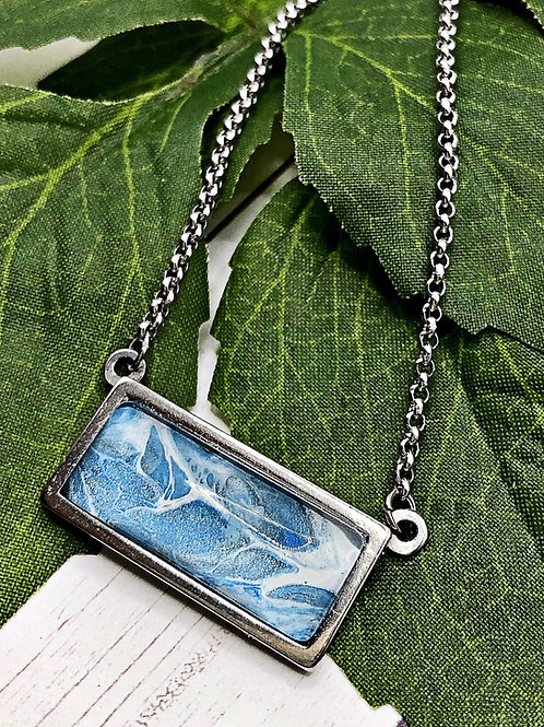 Blue stainless steel necklace.