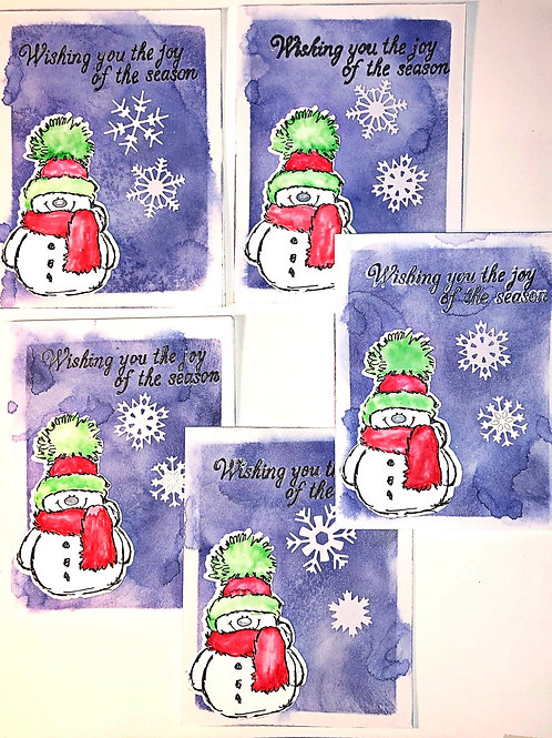 Snowman Christmas Greeting card set.