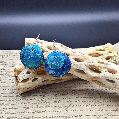 upcycled blue aluminum earrings.  alcohol ink earrings. embossed earrings.