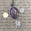 Thumbnail: Silver, gray, purple and cooper oval pendant