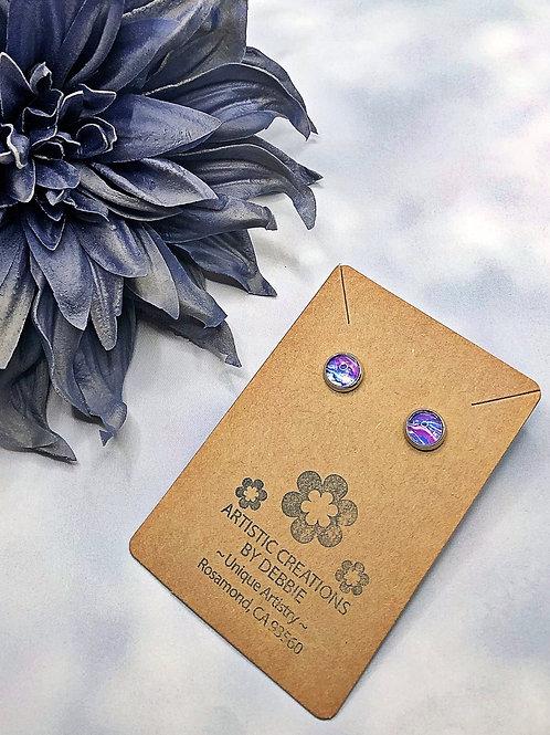 Blue and Purple 8mm earrings