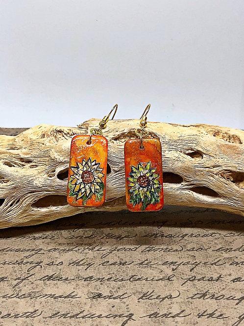Orange flower domino earrings