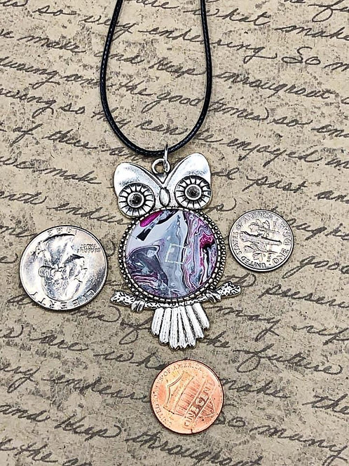 Purple, white , black and silver owl pendant