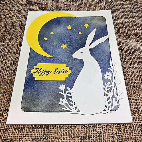 Sleepy white rabbit easter card set.  Set of four.