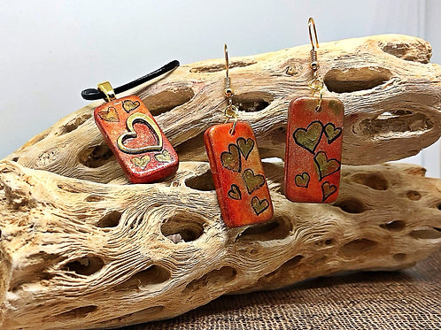 Orange and gold heart domino earring and pendant set