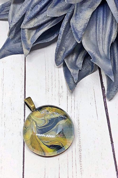 Black and Gold Glass Gem Pendant