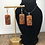 Thumbnail: Orange and gold heart domino earring and pendant set