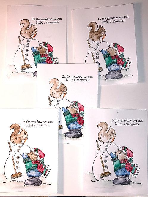 Snowman and Bear Christmas greeting card set.