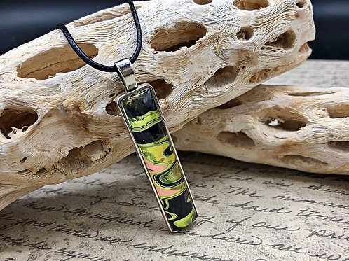 Green, yellow and black rectangle pendant.
