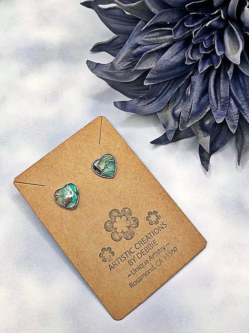 Green heart earrings.