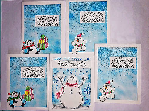 Mixed Christmas card set including snowmen and penguins