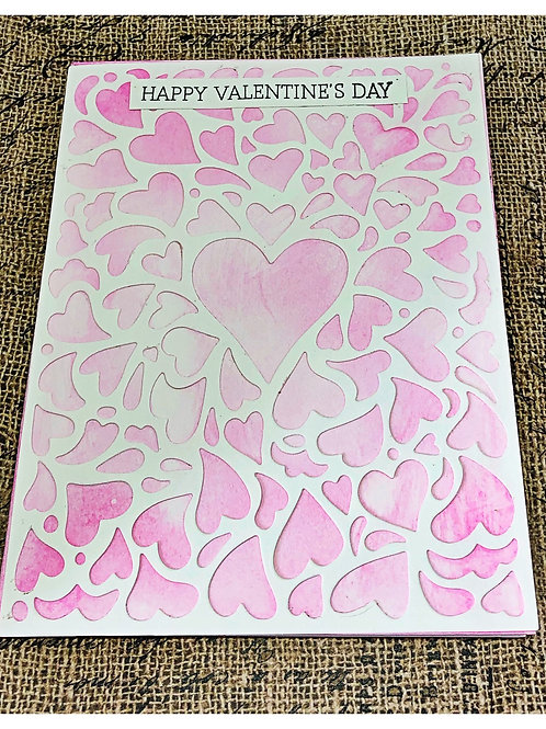 Pink lace heart valentine card