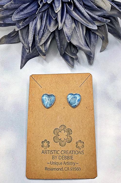 Blue heart earrings.
