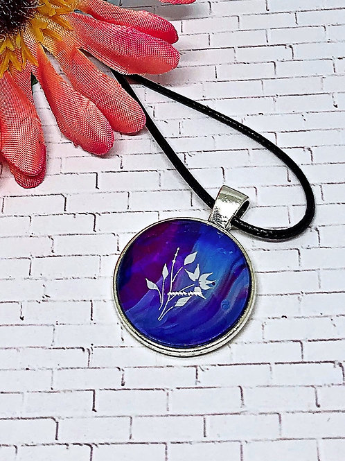 Blue and purple flower pendant