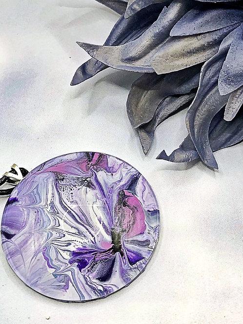 Purple blossom statement pendant .