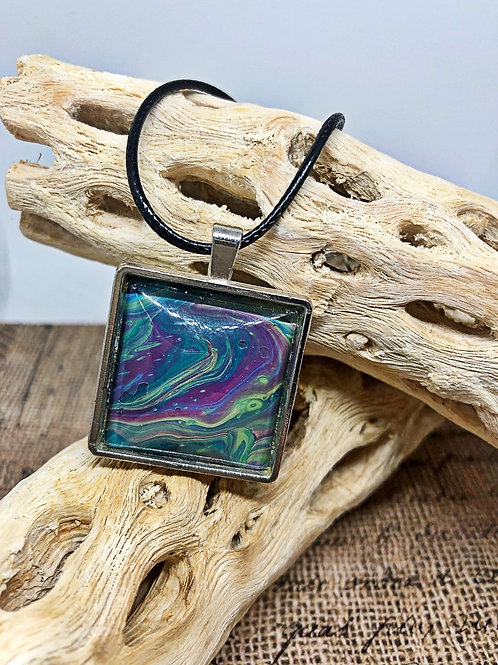 Purple and teal swirl square pendant