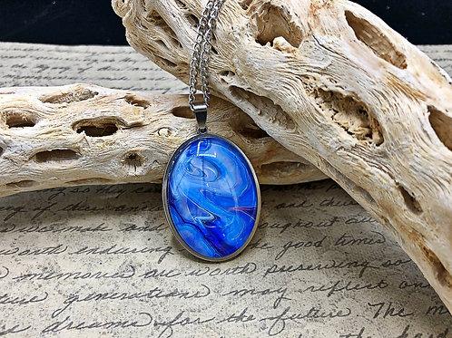 Blue/purple oval necklace