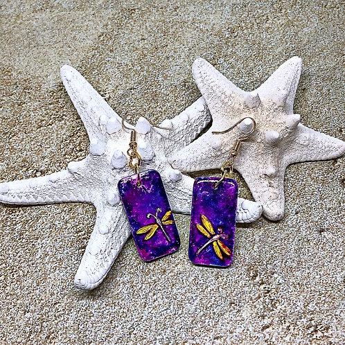 Purple dragonfly earrings