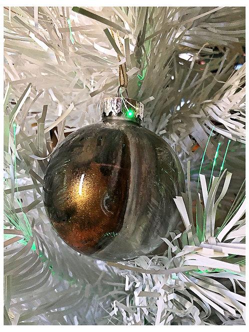 Black, gray, copper and white swirl ornament