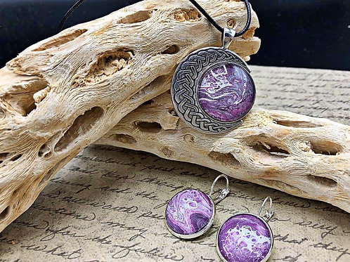 Purple, white and black Celtic moon pendant and earring set