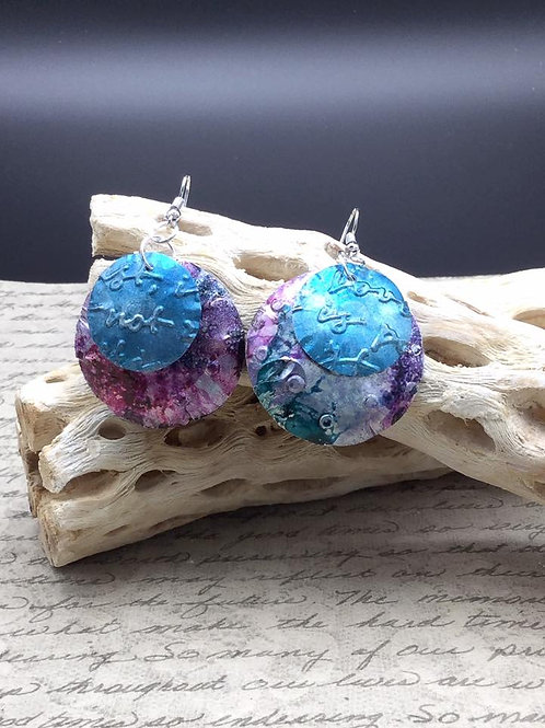 Pink, Blue and Purple upcycled aluminum earrings.  Alcohol ink earrings.