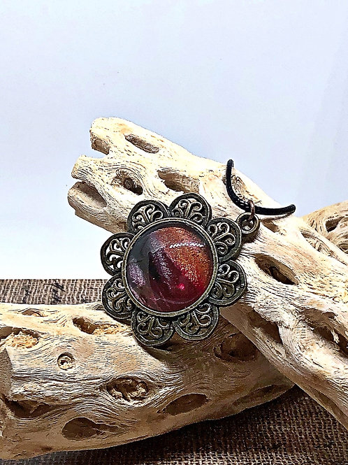 Deep red and copper flower pendant