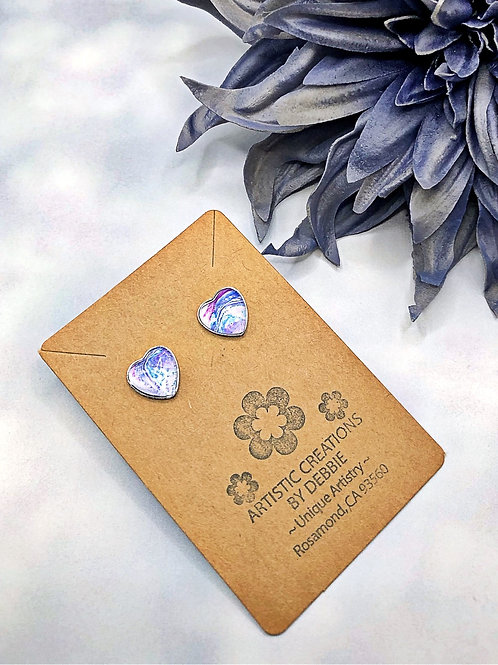 Blue and Purple Heart Earrings