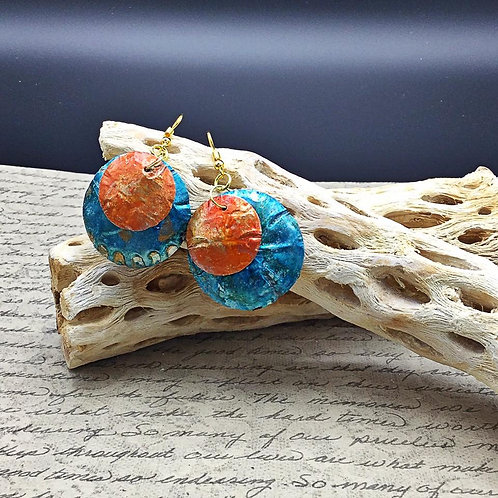 upcycled aluminum earrings.  hand painted copper and greenish earrings.