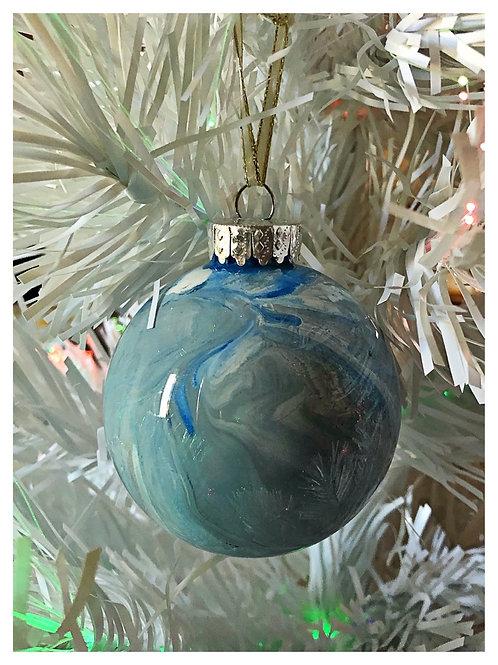 Blue, gray and white swirl ornament