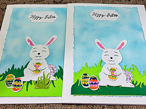 Happy Easter Bunny Card Set.  Set of four.