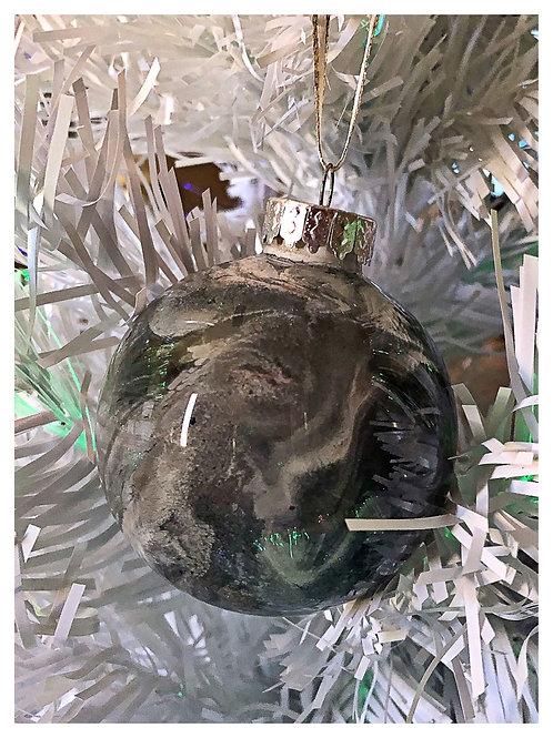 Black, white and copper swirl ornament