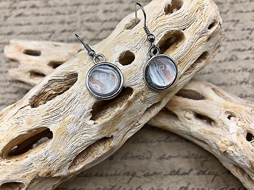 White, silver and copper earrings