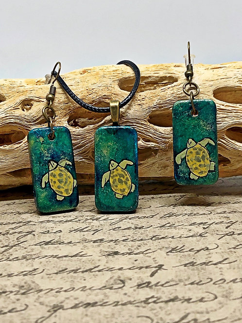 Turtle up-cycled domino pendant and earring set